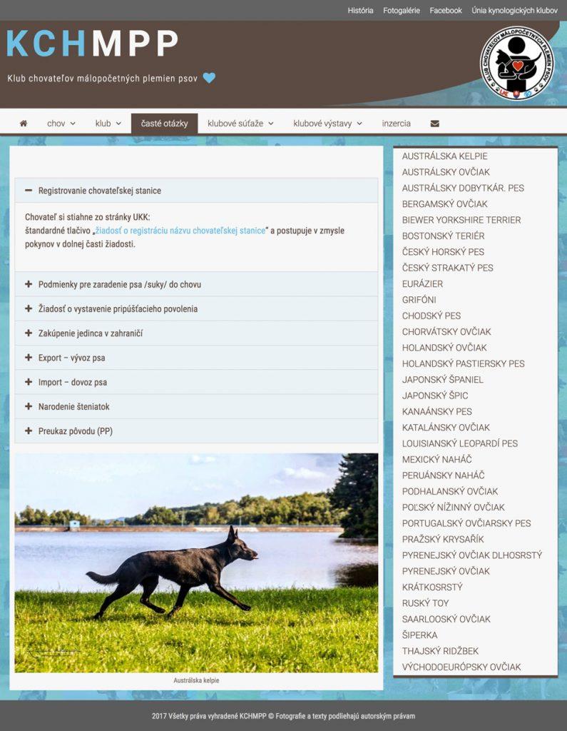 Tvorba web stránok pre chovateľské kluby, chovateľská grafika