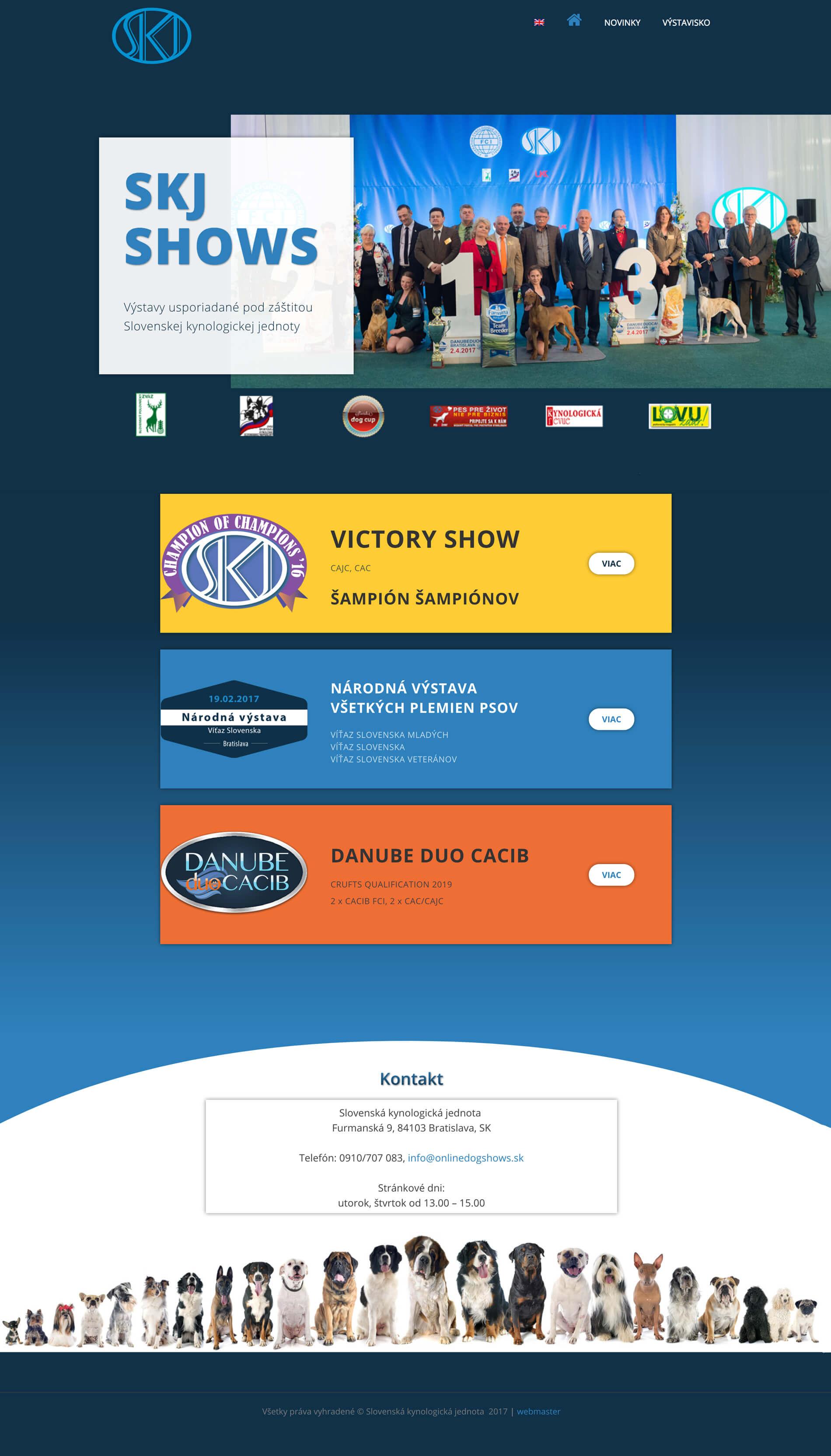 Tvorba web stránok pre výstavy psov, chovateľská grafika